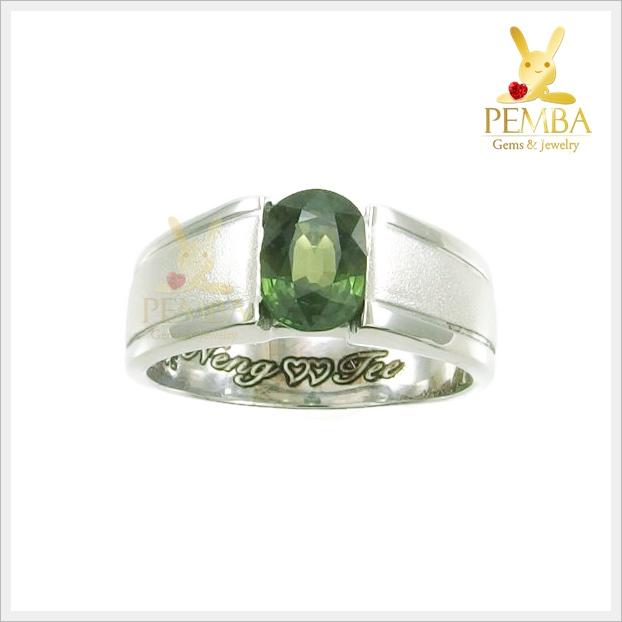 แหวนเขียวส่องแท้ เงินแท้ ชุบทองคำขาว
