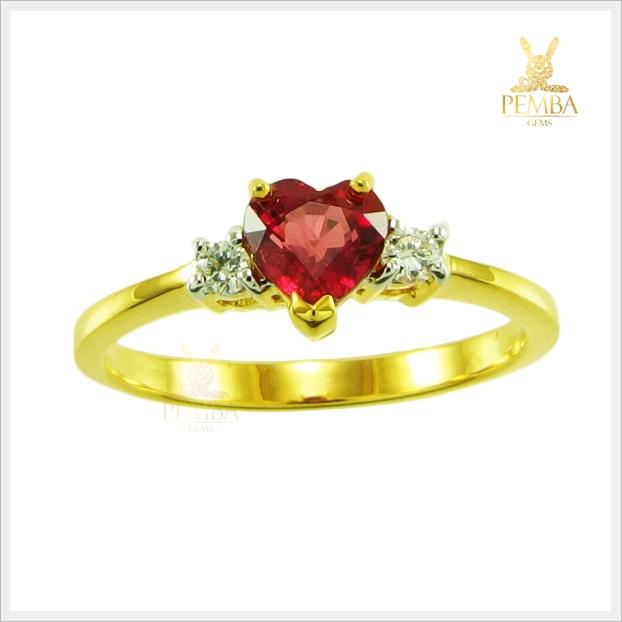 แหวนทับทิมไทย สวยเก๋ น่ารักๆ ใส่เพิ่มเสน่ห์น่าหลงใหล(สามารถสั่งทำได้ค่ะ)