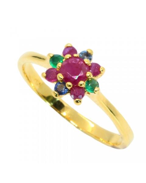 แหวนพลอยแท้ประดับอาเกต ไพลิน ทับทิม ตัวเรือนอัลลอยด์หุ้มทองคำแท้
