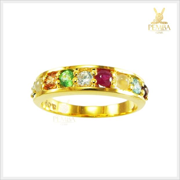 แหวนพลอยนพเก้า ทองแท้ เสริมการงานราบรื่น (สามารถสั่งทำได้ค่ะ)