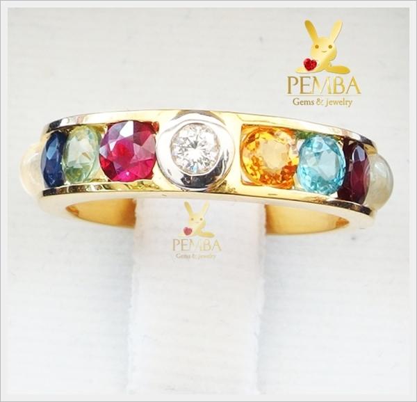 แหวนพลอยนพเก้า ทองแท้ เพชรแท้ (สอบถามราคา)