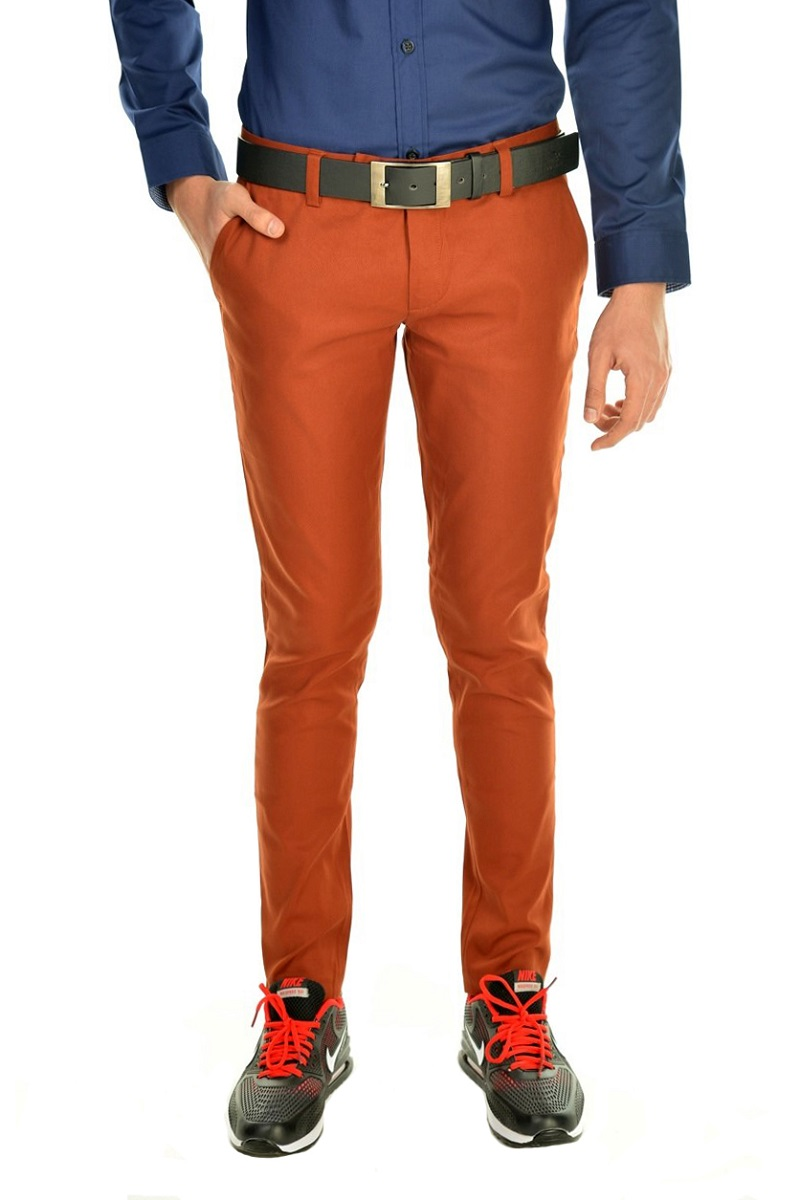 กางเกงสแล็คผู้ชายสีส้มอิฐ ผ้ายืด ขาเดฟ