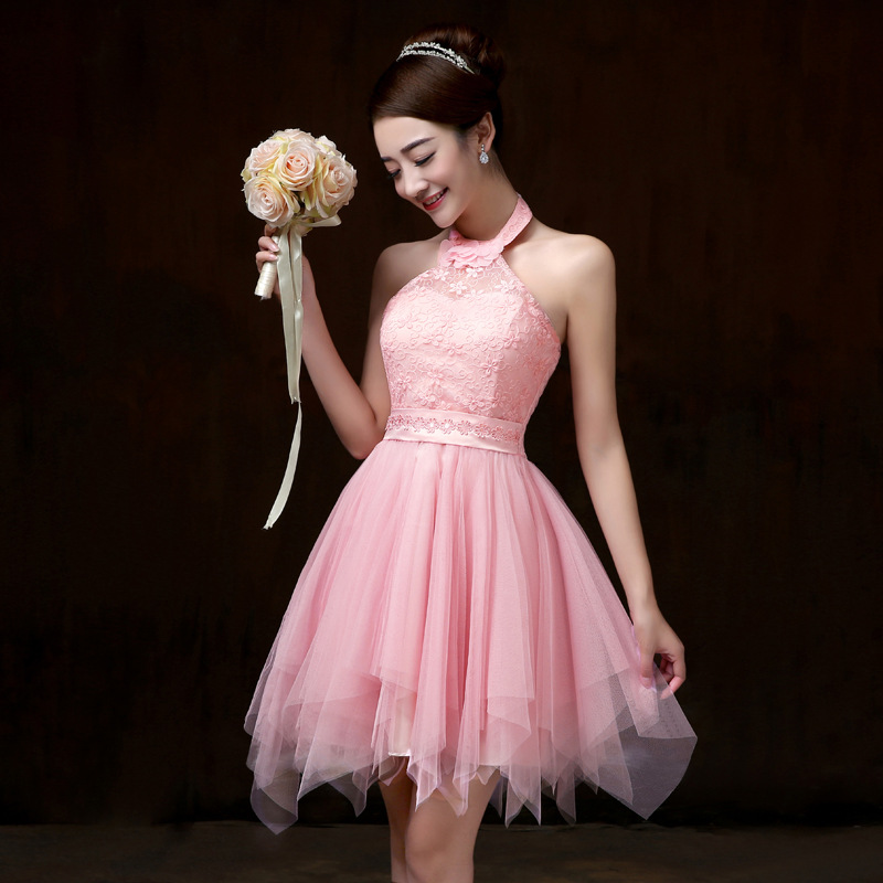 ชุดราตรีสั้น สีชมพู คล้องคอ สวยๆ แนวหวาน น่ารัก
