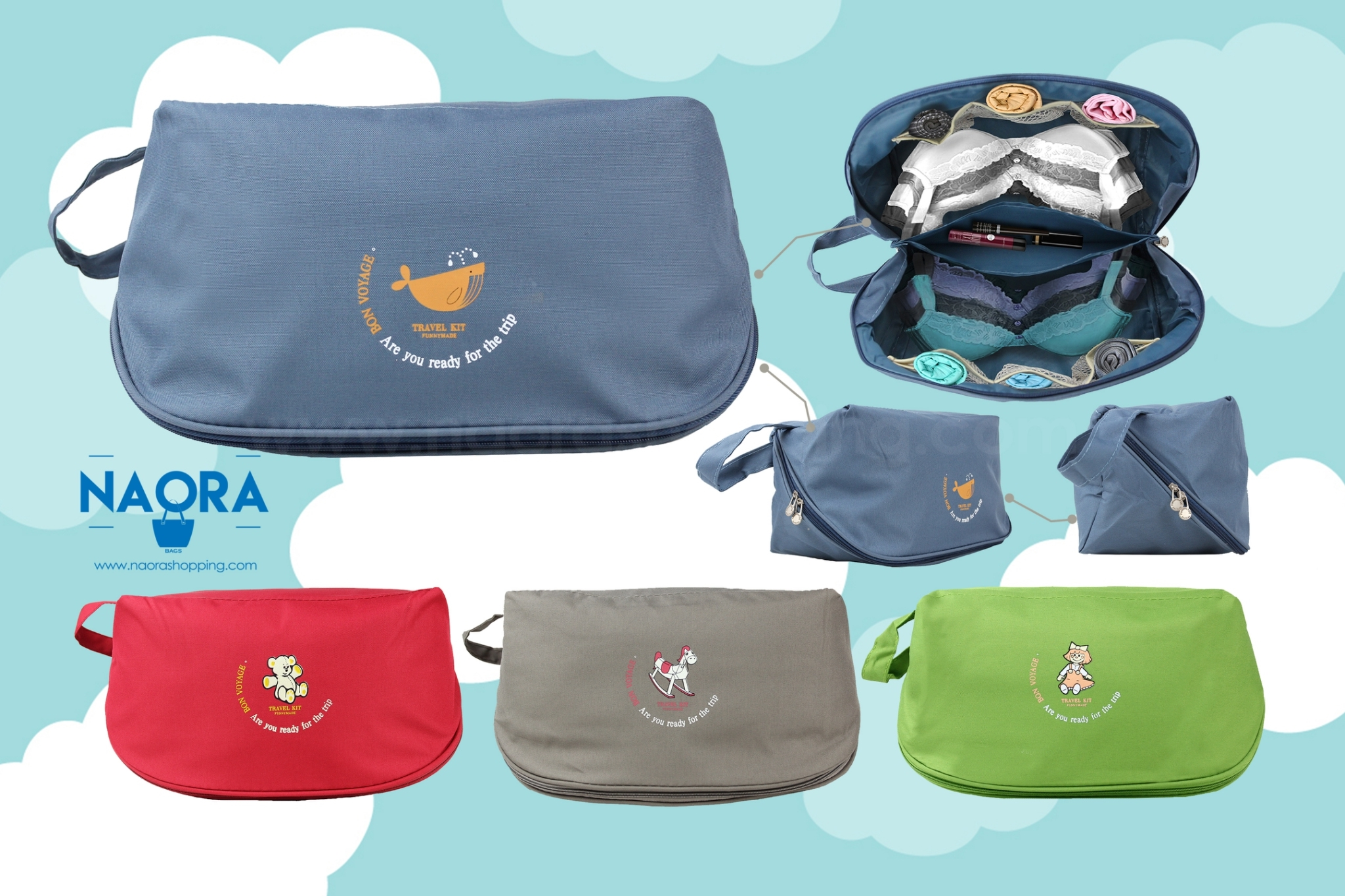 กระเป๋าจัดระเบียบชุดชั้นในมีหูหิ้ว