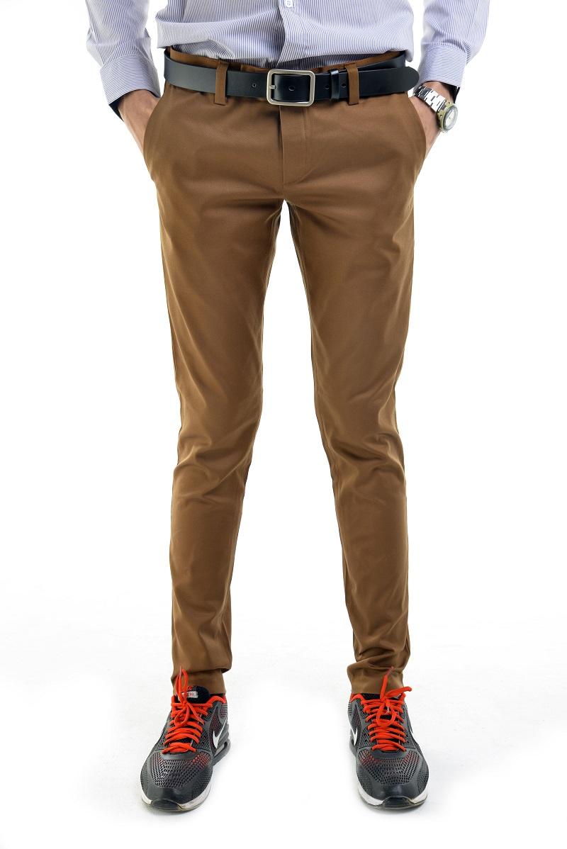 กางเกงสแล็คผู้ชายสีน้ำตาลทอง ผ้ายืด ขาเดฟ