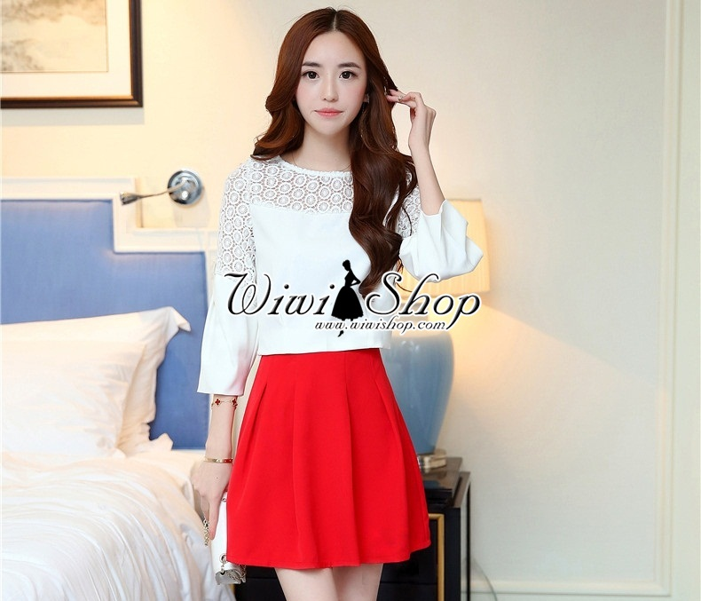 ชุดเซ็ทเสื้อ กระโปรงโทนสีขาวแดง