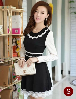 ชุดเดรสทำงานแฟชั่นเกาหลี ชุดเดรสสั้นสีดำ คอปก แขนยาว เป็นชุดทำงานแนวเรียบร้อย น่ารัก