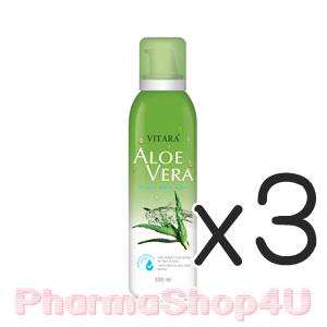 (ซื้อ3 ราคาพิเศษ) Vitara Aloe Vera Mineral Water Spray 100mL ไวทาร่า น้ำแร่ผสมว่านหางจะเข้ และน้ำมันเมล็ดองุ่น ช่วยบำรุง ลดอาการระคายเคืองรวมทั้งลดอาการร้อนผ่าวหลังออกแดด