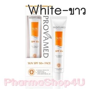 (White-ขาว) Provamed Sun Face SPF50+ 30mL ครีมกันแดดสูตร Non Chemical ไร้ความมันเงา เรียบกลืนไปกับผิวให้เมคอัพดูกระจ่างใสขึ้น