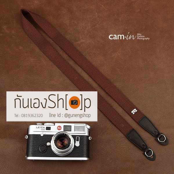 สายกล้องคล้องคอ cam-in สีพื้นเส้นเล็ก สีน้ำตาลเข้ม แบบห่วง 25 mm
