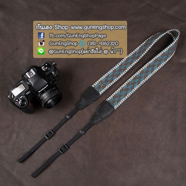 สายคล้องกล้อง cam-in Gray light blue zipzap