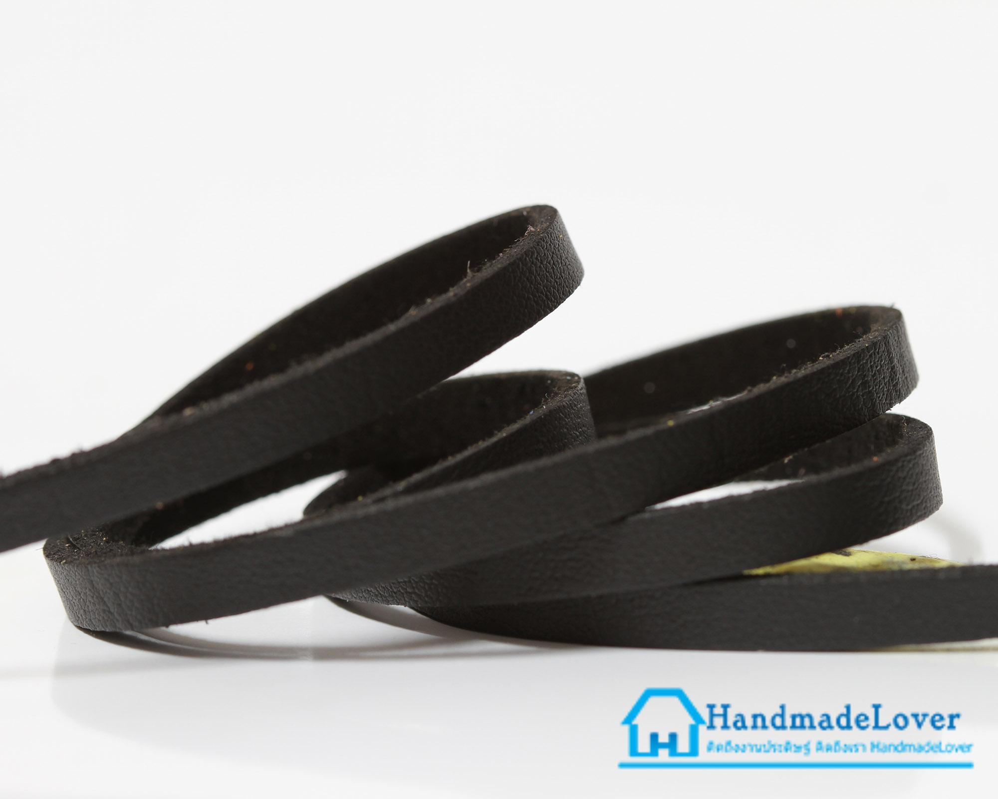 เชือกหนังชามุด ผิวมัน สีดำ ขนาด 5 mm.
