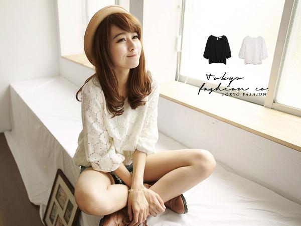 Pre-เสื้อแฟชั่นลูกไม้สไตล์เกาหลีสีขาว