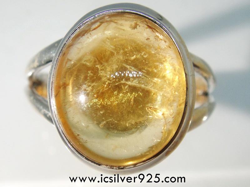 โอปอล (Golden Sun Opal) แหวนเงินแท้ 925 (แหวนเบอร์ : 59)