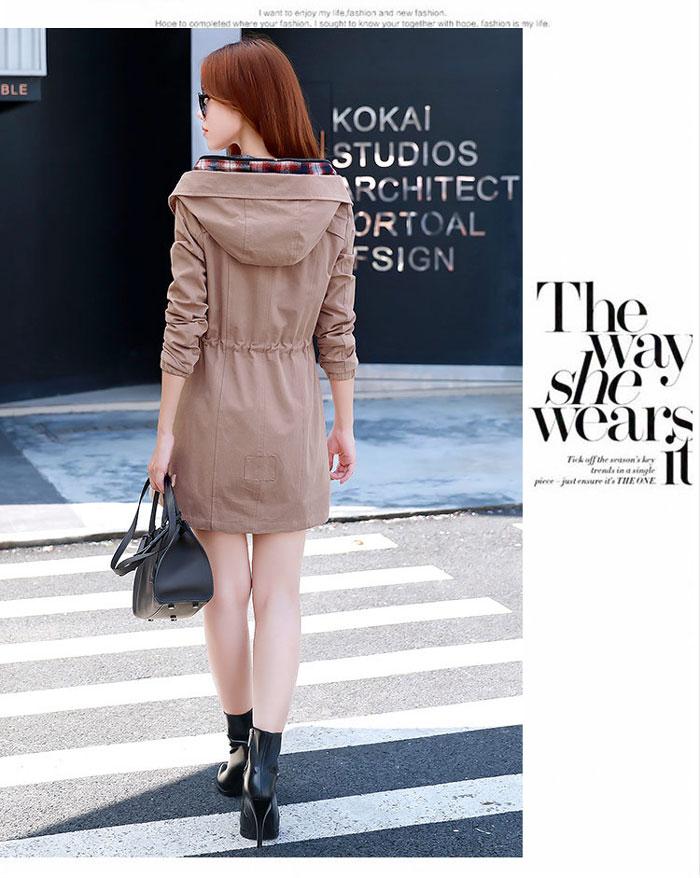 เสื้อกันหนาวผู้หญิงแฟชั่นเกาหลี สีชมพูกะปิ แจ็คเก็ตกันลมมีฮู้ด ตัวยาวคลุมสะโพก แต่งลายสก็อต
