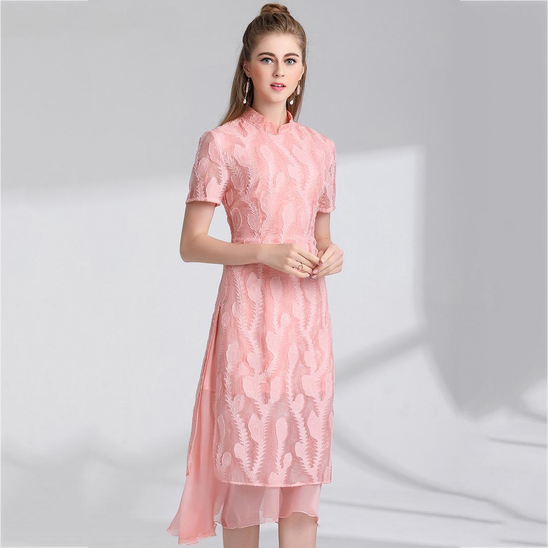 ชุดเดรสแซกยาวสีชมพูสไตล์ชุดกี่เพ้า สีหวานลุคสวยเก๋ (พร้อมส่ง)