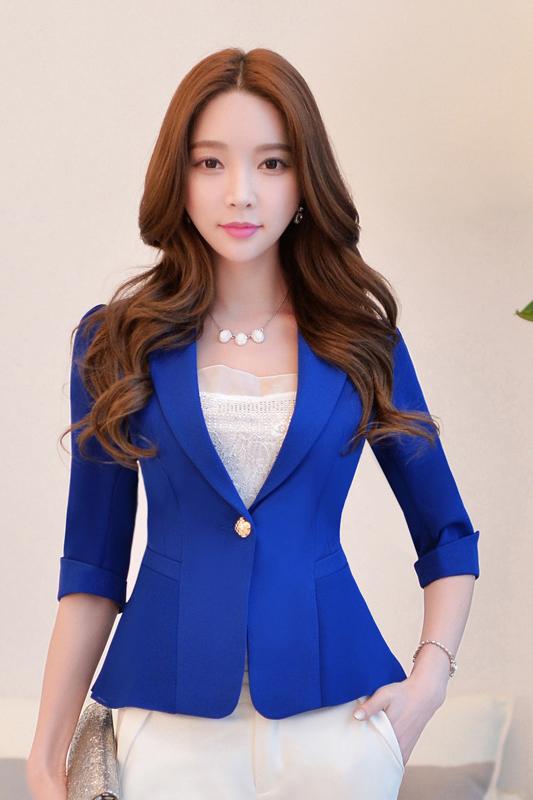 (สินค้าหมด) เสื้อสูทแฟชั่น เสื้อสูทผู้หญิง สีน้ำเงิน แขนพับสามส่วน แต่งระบายด้านหลังด้วยผ้าชีฟอง