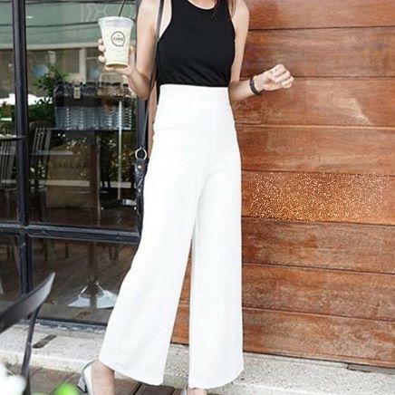 กางเกงขายาวสีขาว ทรงกระบอก ผ้าฮานาโกะ เอวสูง