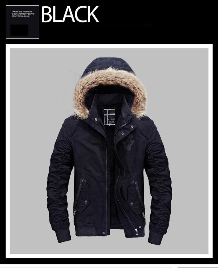 เสื้อกันหนาวผู้ชาย เสื้อแจ็คเก็ตผู้ชายมีฮู้ดถอดได้ สีดำ ซับขน จั๊มข้อมือ และเอว