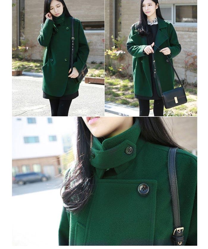 เสื้อโค้ทกันหนาวผู้หญิง สีเขียวเข้ม ยาวคลุมสะโพก ซับในบุนุ่ม หนาวไหน ก็เอาอยู่