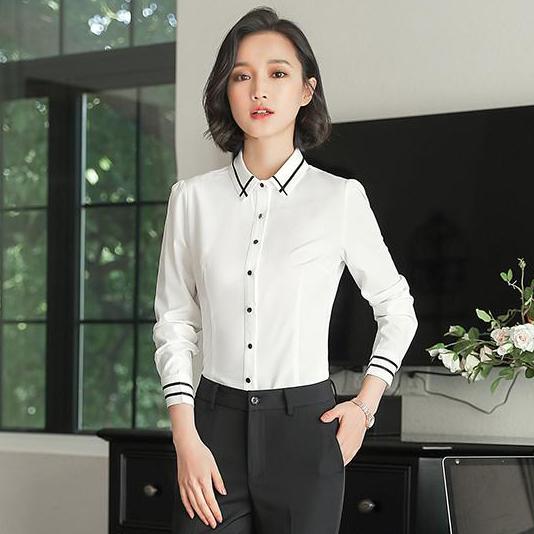 เสื้อเชิ้ตผู้หญิงทำงานผู้หญิงสีขาว แขนยาว