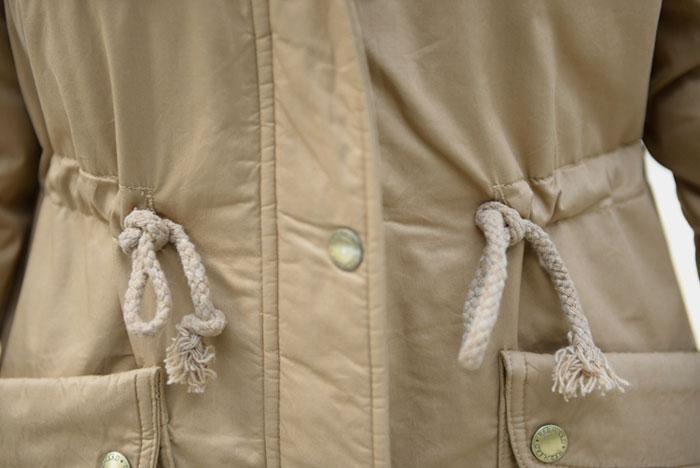 เสื้อกันหนาวผู้หญิงแฟชั่นเกาหลี สีกากี แจ็คเก็ตมีฮู้ด มีเฟอร์ขนสัตว์ ถอดได้ หนาวๆ เอาอยู่