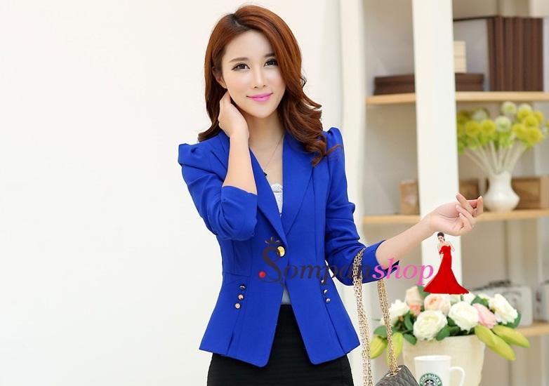 เสื้อสูททำงานผุ้หญิงสีน้ำเงิน แต่งกระดุมสีทอง ลุคสาวทำงาน เรียบหรู ดูดี เป็นทางการ