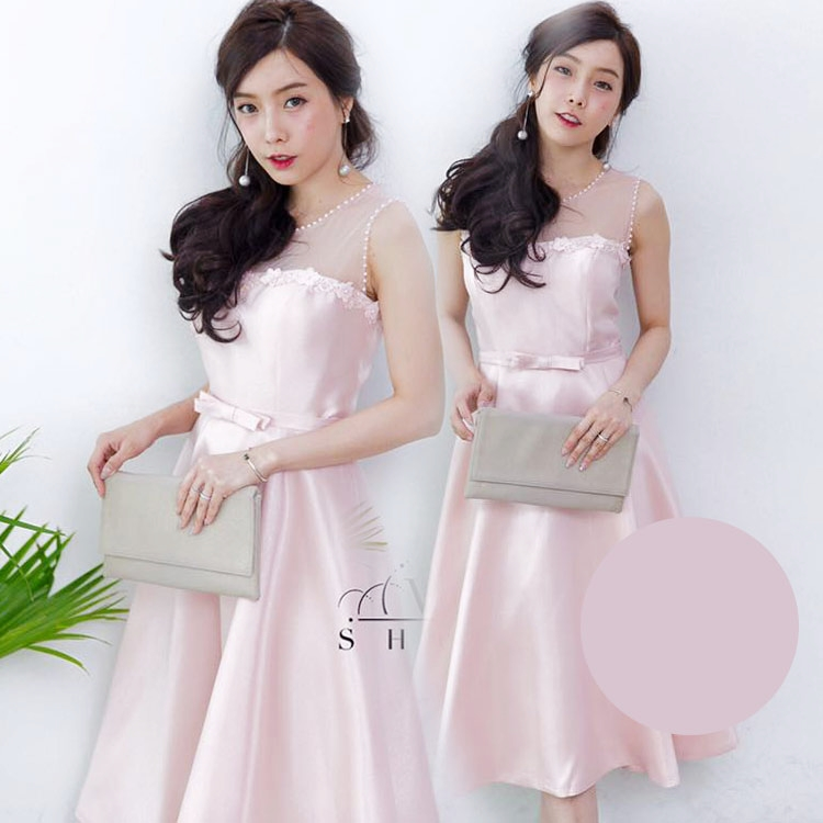 ชุดออกงาน ชุดไปงานแต่งงานสีชมพู สวยหรู ผ้าไหมอิตาลี แขนกุด กระโปรงบานทรงเจ้าหญิง
