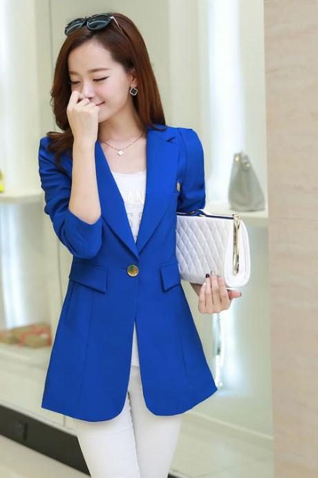 เสื้อสูทแฟชั่น เสื้อสูทผู้หญิง สีน้ำเงิน คอปก ตัวยาวคลุมสะโพก แต่งสายคาดเอวด้านหลัง