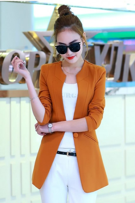 เสื้อสูทแฟชั่น เสื้อสูทผู้หญิง สีส้มอิฐ แขนยาว ตัวยาวคลุมสะโพก