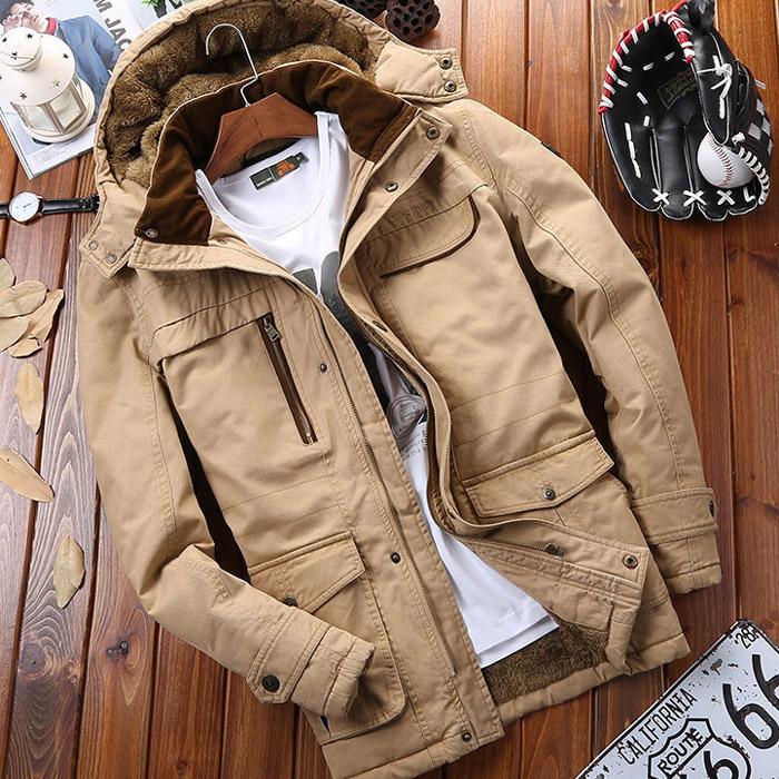 เสื้อกันหนาวผู้ชาย เสื้อแจ็คเก็ตผู้ชายมีฮู้ด ถอดได้ สีกากี คอปีน ซับขนสัตว์ เท่ๆ