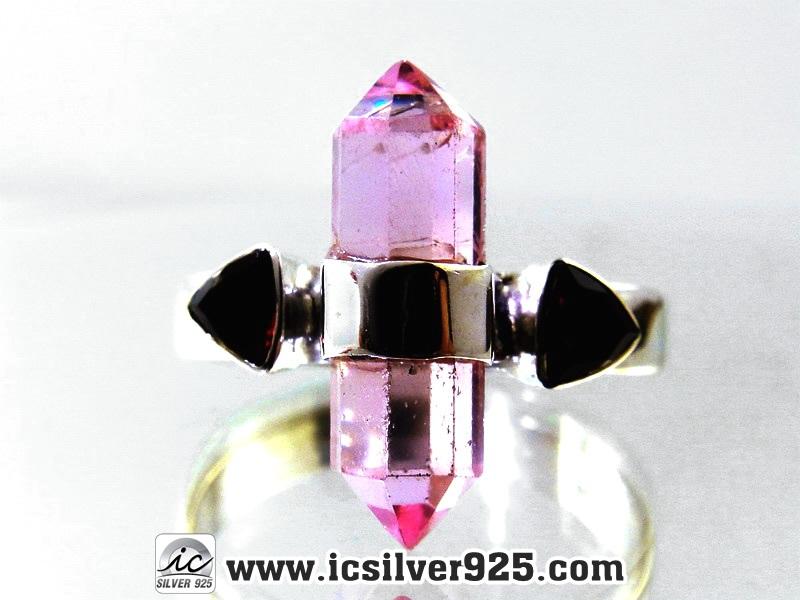 ▽Pink Kunzite & Garnet แหวนเงินแท้ 925 (แหวนเบอร์ : 61, 3.8 กรัม)