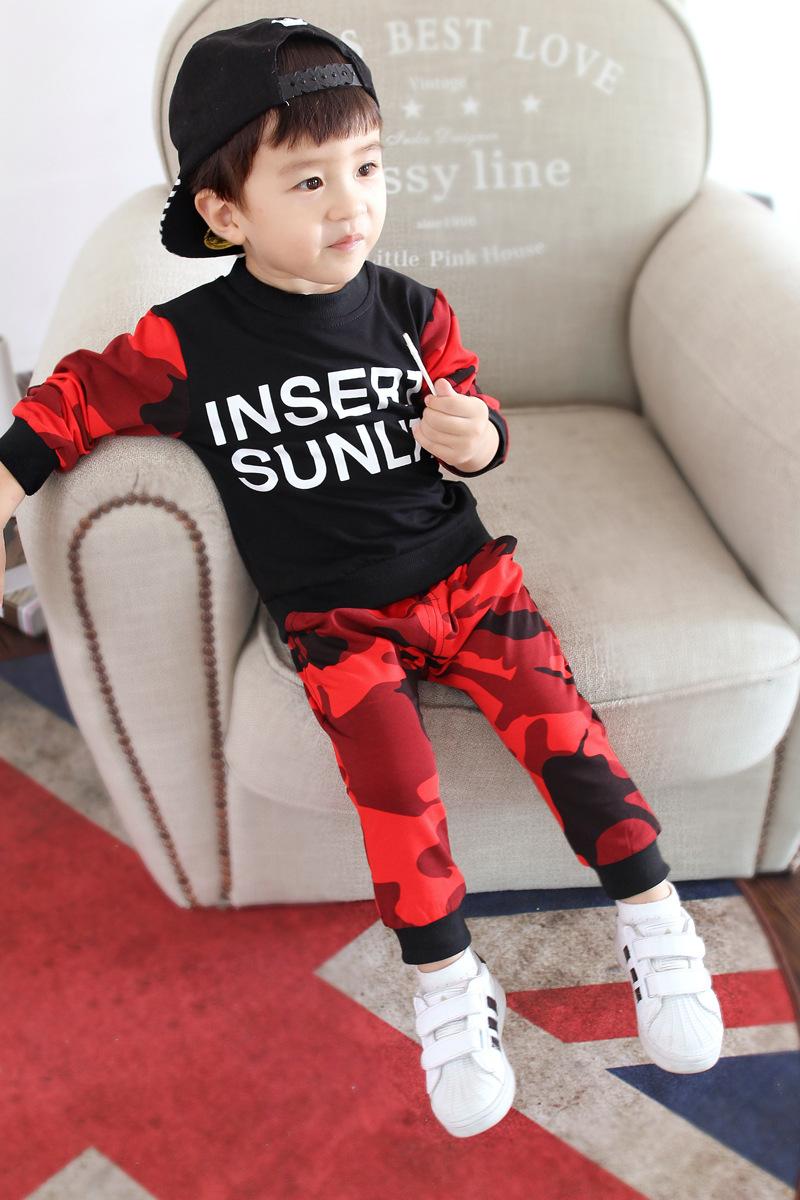 ชุดลายพราง (เสื้อแขนยาว+กางเกงขายาว) สีแดง+ดำ