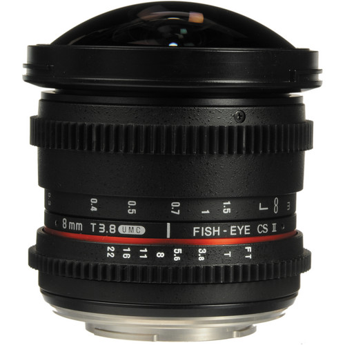 Bower 8mm T/3.8 Fisheye HD Cine Lens for Canon DSLR Mount