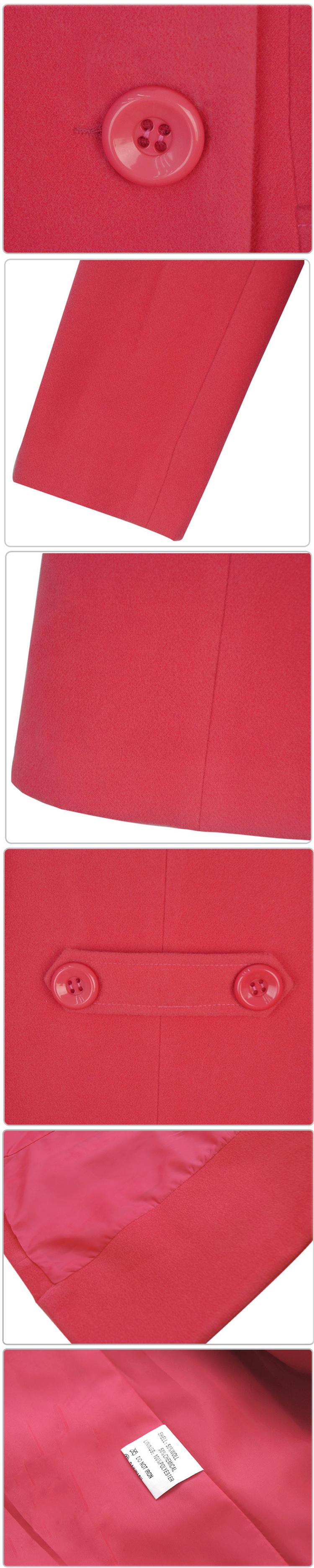 เสื้อโค้ทกันหนาว สีชมพูสดใส ตัวยาว กระดุมเม็ดใหญ่ แต่งสายคาดเอวด้านหลัง แขนยาว มีซับใน มีกระเป๋า