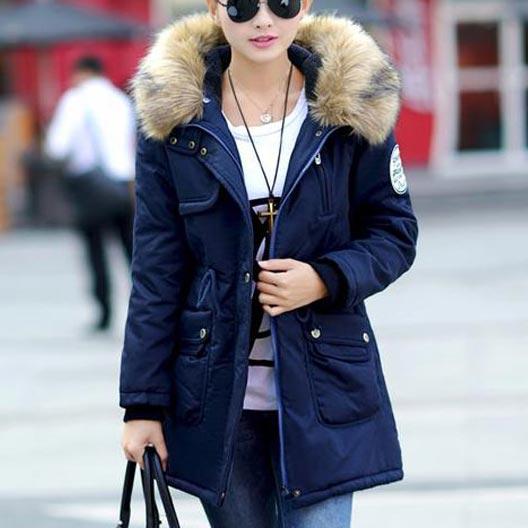 เสื้อกันหนาวผู้หญิงแฟชั่นเกาหลี สีกรม แจ็คเก็ตมีฮู้ด มีเฟอร์ขนสัตว์ ถอดได้ หนาวๆ เอาอยู่