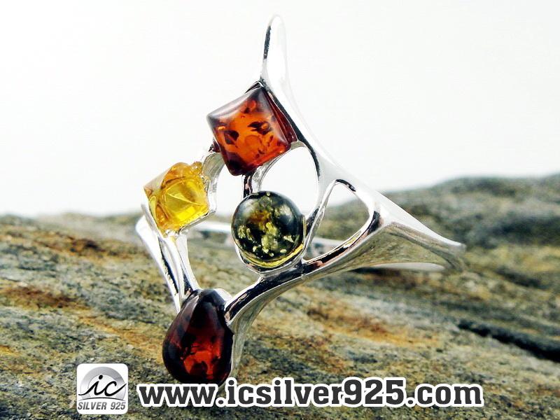 ▽อำพัน Amber - แหวนเงินแท้ 925 (ขนาดแหวนเบอร์ : 57 , 2.4g)