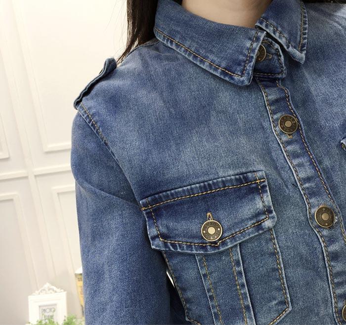 เสื้อยีนส์ผู้หญิง แจ็คเก็ตยีนส์ เสื้อคลุมยีนส์ ตัวยาว สีน้ำเงิน แขนยาว คอปก