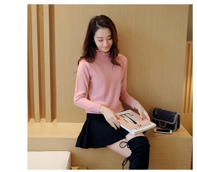 เสื้อไหมพรมแฟชั่นกันหนาว เสื้อสเวตเตอร์คอปีน สีชมพู แขนยาว ลายถักสวย