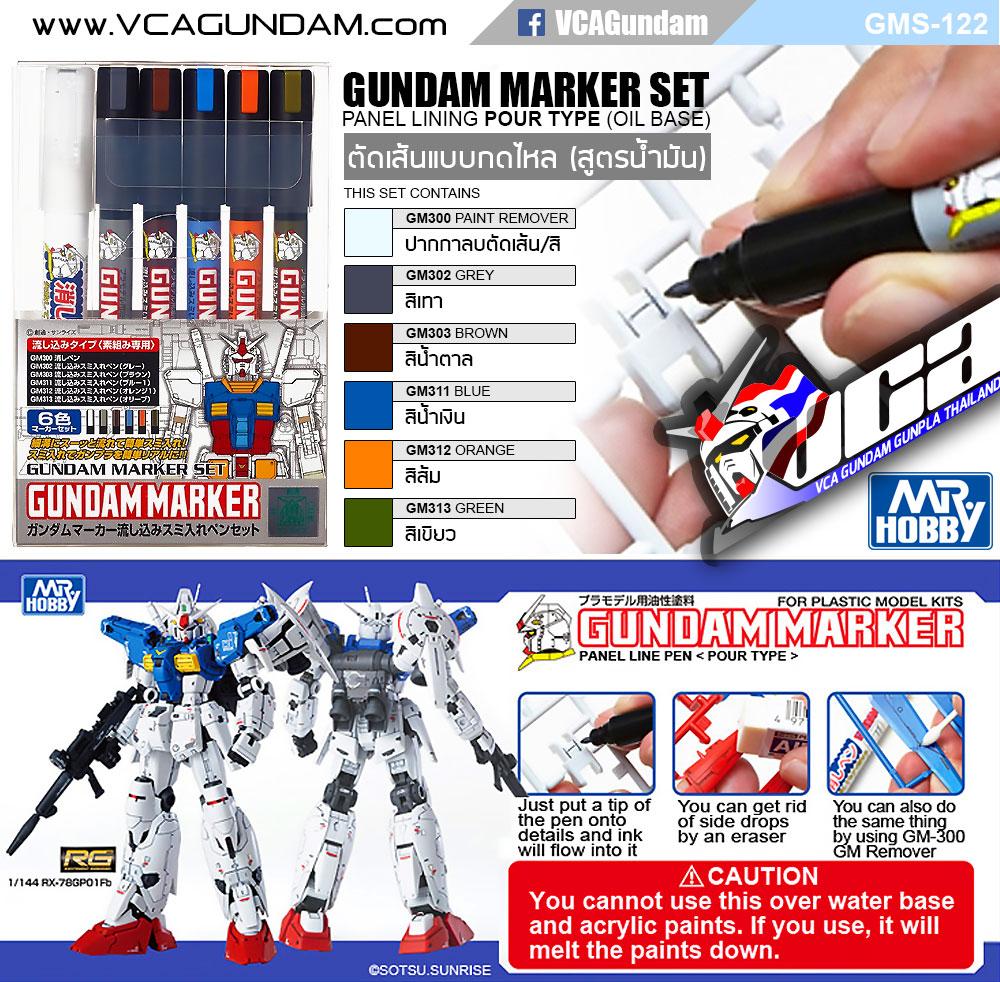 GMS122 GUNDAM MARKER POUR TYPE SET กันดั้ม มาร์คเกอร์ เซ็ต ตัดเส้นแบบกดไหล (สูตรน้ำมัน)