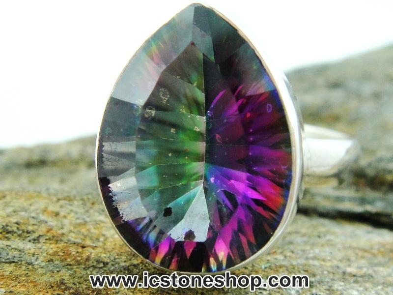 ▽โทพาซสีรุ้ง (Rainbow Topaz) แหวนเงินแท้ 925 (แหวนเบอร์ : 52, 5.3g)