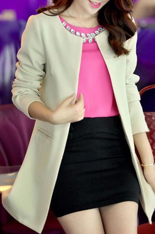 เสื้อสูทแฟชั่น เสื้อสูทผู้หญิง สีครีม แขนยาว คอจีน ตัวยาวคลุมสะโพก แนวเสื้อคลุมเก๋