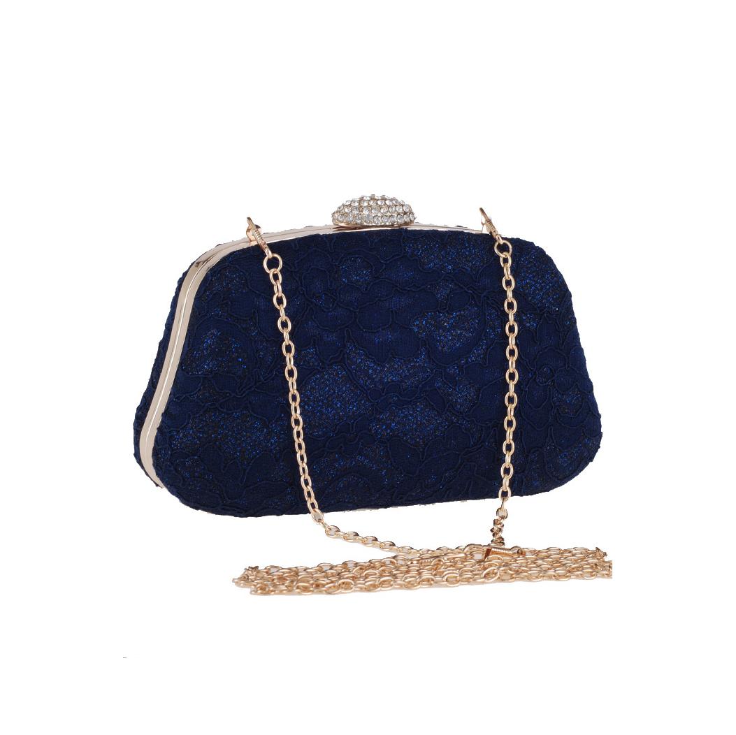 กระเป๋าออกงานสีน้ำเงินกรมท่า ทรงสีเหลี่ยมคางหมู แต่งลูกไม้
