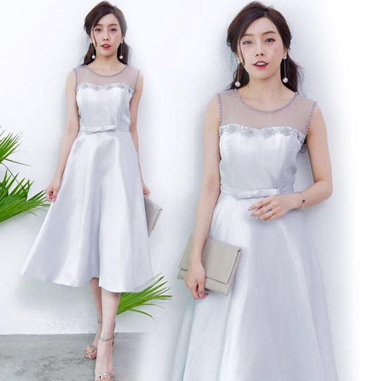 ชุดออกงาน ชุดไปงานแต่งงานสีเทา สวยหรู ผ้าไหมอิตาลี แขนกุด กระโปรงบานทรงเจ้าหญิง
