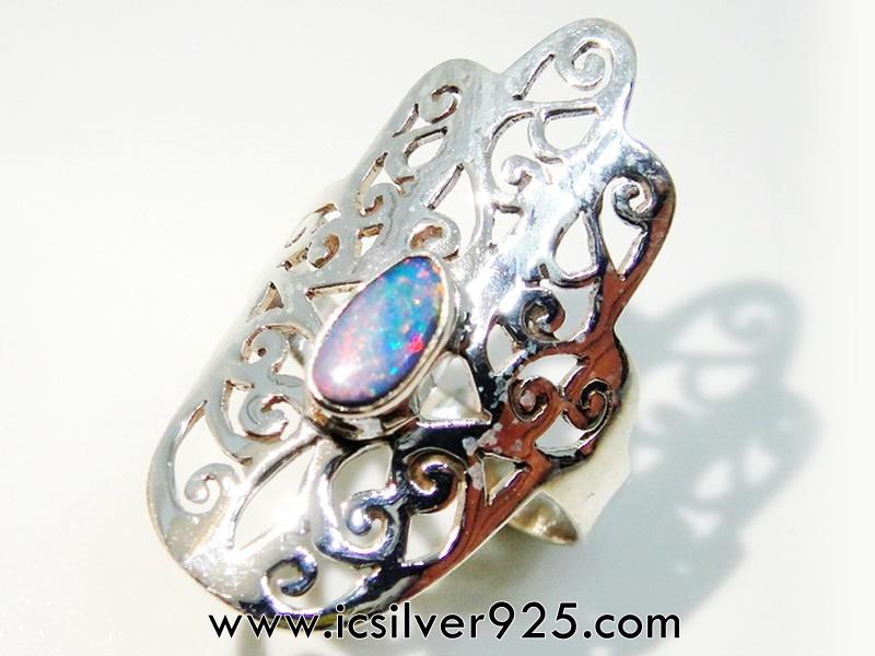 โอปอล (Opal) ออสเตรเลีย แหวนเงินแท้ 925 (แหวนเบอร์ : 55 , 2.5g)
