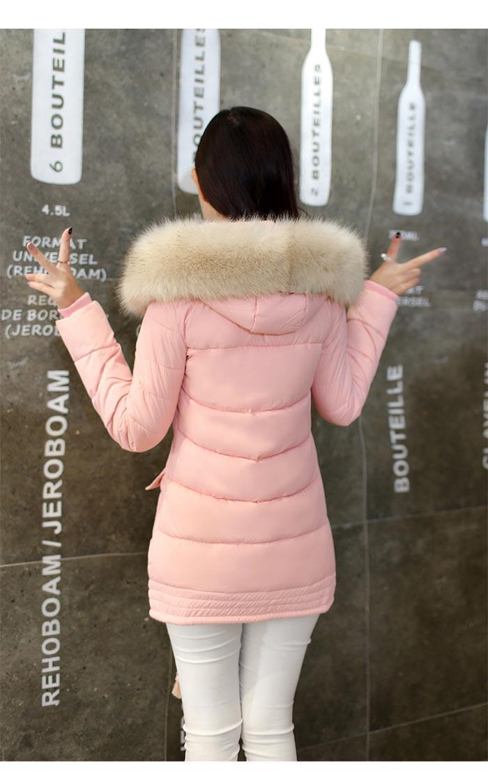 เสื้อกันหนาวผู้หญิงแฟชั่นเกาหลี สีชมพูพีช แจ็คเก็ตมีเฟอร์รอบฮู้ด ยาวคลุมสะโพก หนาวนี้ เอาอยู่