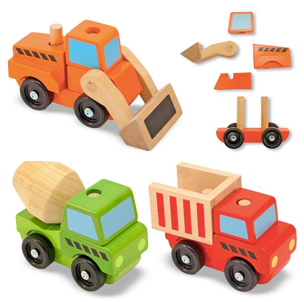 รถไม้เด็กเล่น Melissa and doug Stacking Construction Vehicles