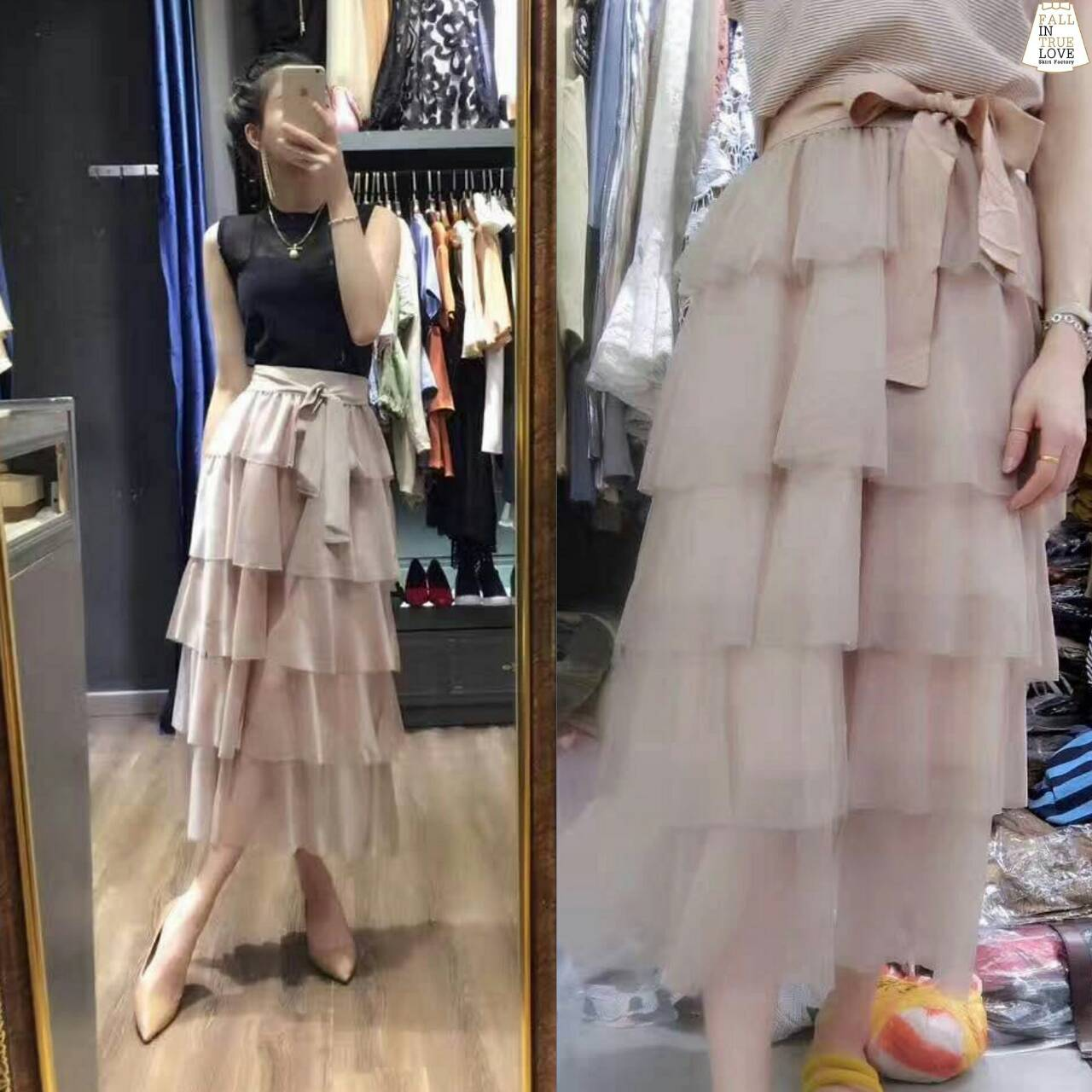 (Stripe Pleated Embroidered Hem Lace Skirt )