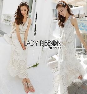 Lady Ribbon Crochet Maxi Dress