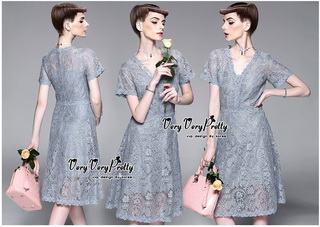 VP01310816 Vintage Silver Florals Lace Dress เดรสผ้าลูกไม้ทั้งตัวสไตล์วินเทจ